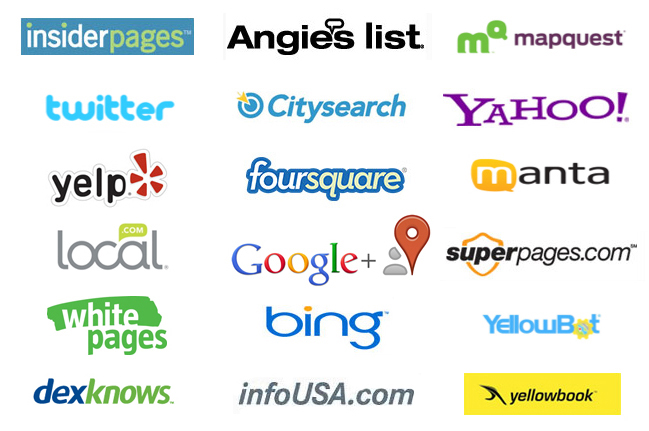 logos from top local directories used in the Prospect Genius Directory Dominator package